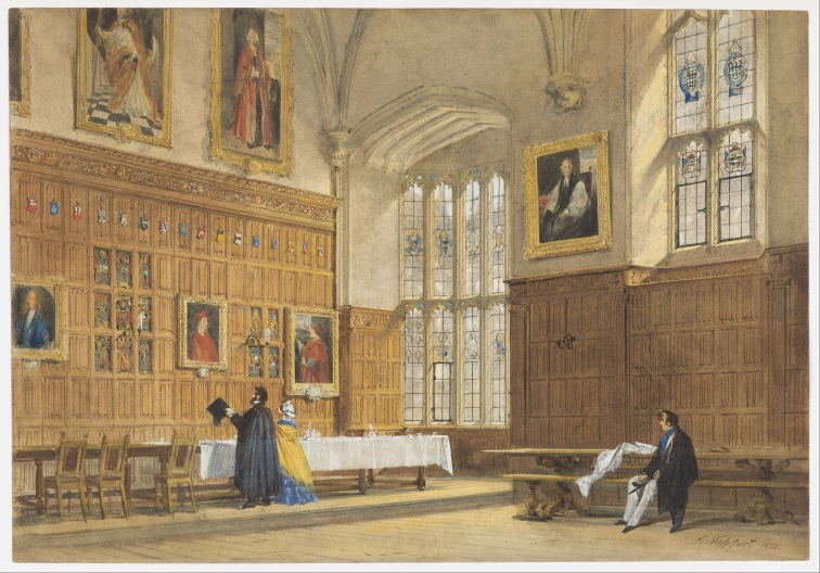 1828-print-by-Nash-of-Dining-Hall-of-Magalen-College-–-showing-picture-of-Wolsey-as-a-notable-alumnus