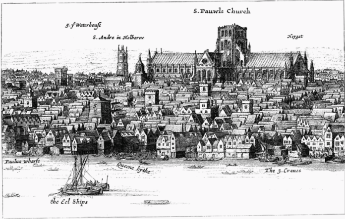 An-engraving-of-Old-St-Paul's-by-William-Hollar-in-mid-17th-century