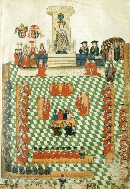 Henry-VIII-in-Parliament-in-1523-–-Note-Cardinal-Wolsey-to-his-right-red-hat