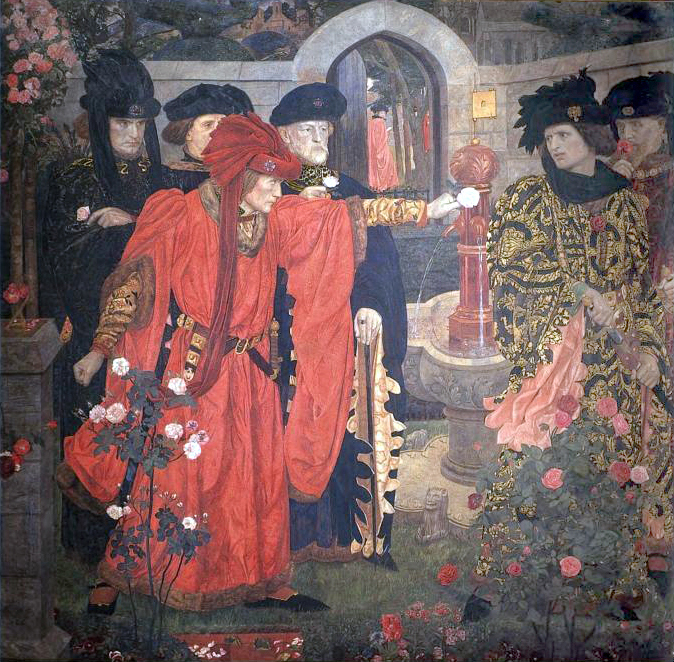 Henry Arthur Payne - Plucking the Red and White Roses in the Old Temple Gardens adjusted