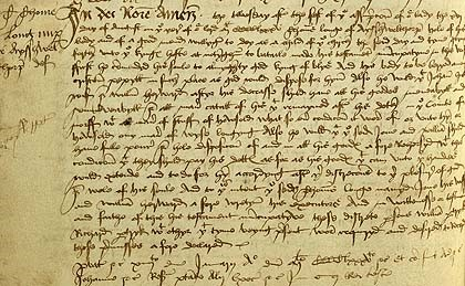 The-nuncupative-will-of-Thomas-Longe-part-of-Norfolk's-contingent-made-on-16th-August-1485-in-anticipation-of-battle.-©-Norfolk-County-Record-Office