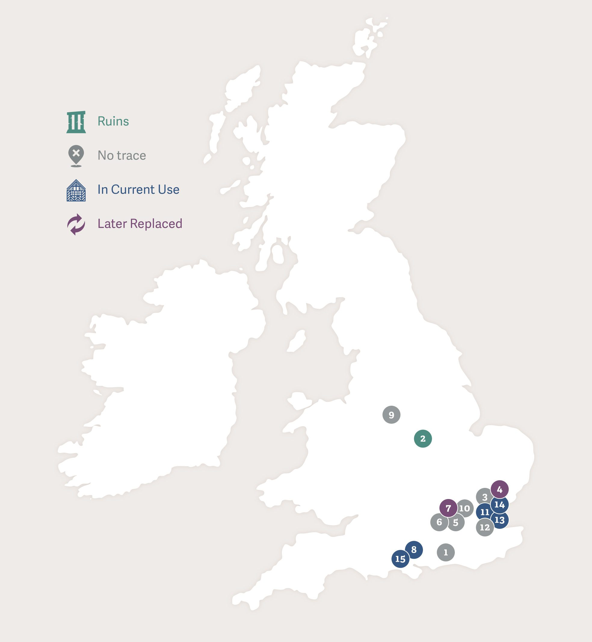 Map of Great Britain showing the footsteps of Lady Katherine Grey