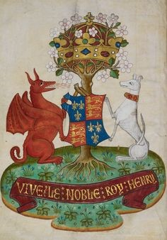 Henry's-arms-after-Bosworth-–-Red-Dragon-of-Cadwallader-and-the-Greyhound-of-Beaufort-as-supporters