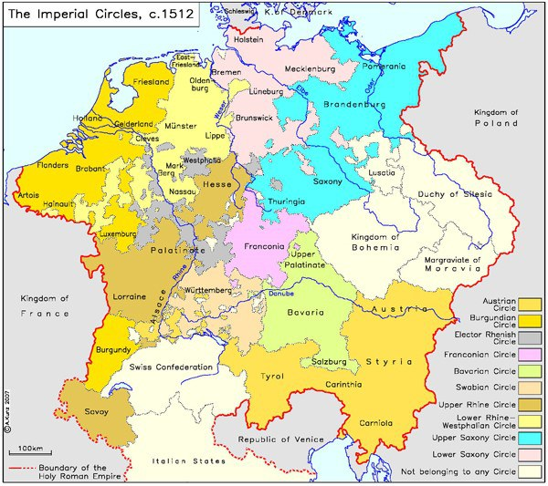 The Holy Roman Empire In Around 1512 Ieg Maps Institute Of European History Mainz © A  Kunz 2007