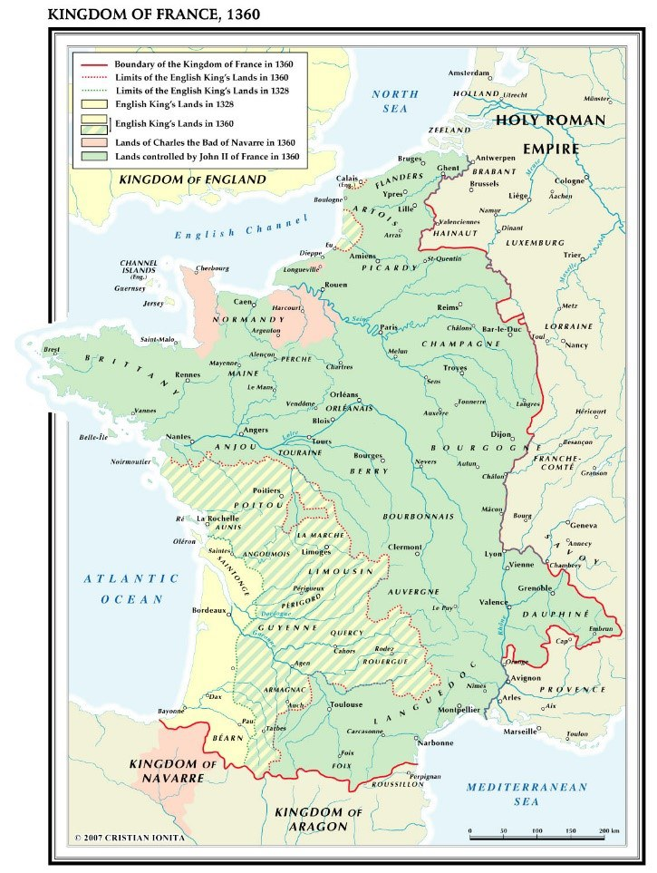 Fig 5 Map Of France 1360 During The First Phase Of The Hundred Years War  Picture Credit