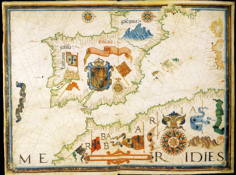 Tudor times maps in the renaissance world map from mary is gift to philip ii drawn by diogo homem england and spain 2 gumiabroncs Gallery